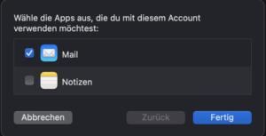 Verknüpfung Mail und Notizen bei Apple Mail