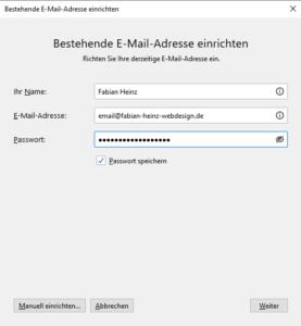 Eingabe E-Mail-Daten in Thunderbird