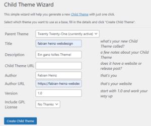 Child Theme Wizard ausgefüllt